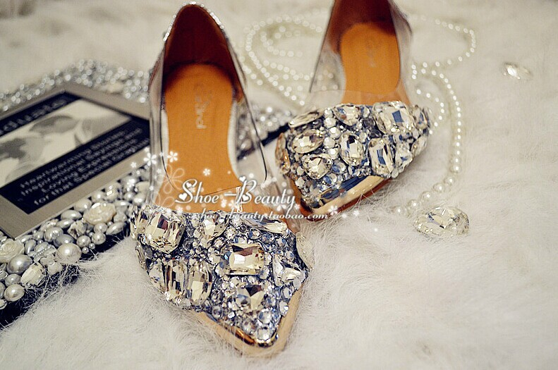 Luxury Vogue Spring Summer Beautiful Silver Flat Heel Crystal bridal Formal Shoe Lady wedding shoes New Style Bridal Dress Shoes