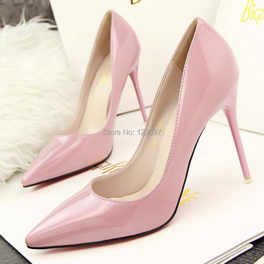new hot Spring autumn women's shoes Spool heels thin spike glitter party pointed toe pink pumps - Fashion Women's boots store