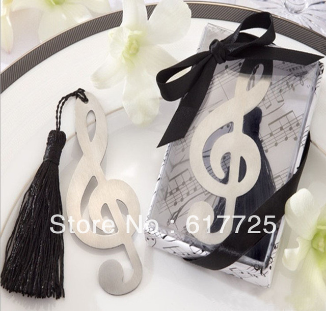 Wedding Favor - 10PCS/LOT Musical Note Metal Bookmark Baby Gift Book Mark, With White Tassel Festival Christmas Gift