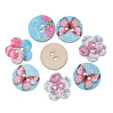 Buy DoreenBeads Wood Sewing Button Scrapbooking Mixed Random Two Holes Butterfly Pattern 24.0mm Dia,25.0mm x 24.0mm,50 PCs for $2.76 in AliExpress store