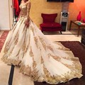 Gold Appliques Bride Wedding Dress 2017 Puffy Tulle Wedding Dresses Bling Beads Lace Western Wedding Dresses