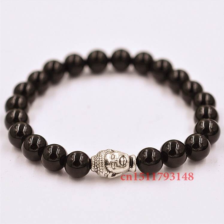 New Products Beaded 8MM High quality obsidian stone beads 24K Antique silver Buddha Elastic Bracelets for Men and Women's Gift(China (Mainland))