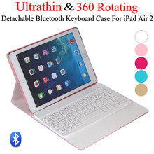 For iPad Air 2 iPad 6 Ultrathin 360 Degree Swivel Rotating Leather Case Stand Cover + Detachable Wireless Bluetooth Keyboard(China (Mainland))
