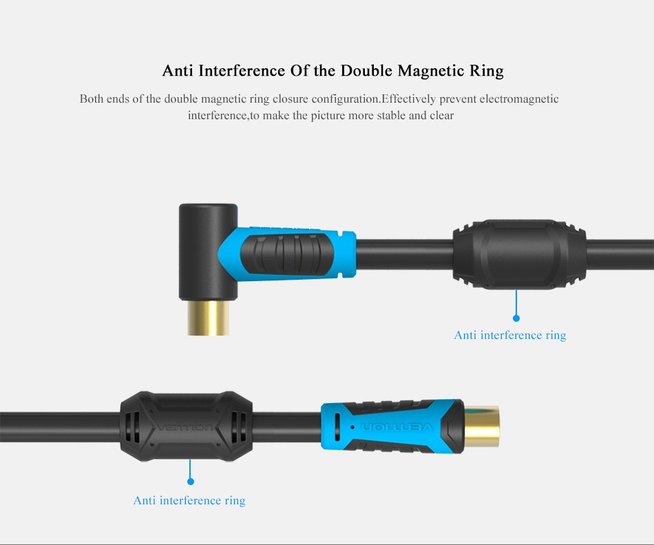 Vention 90 degrees male to f f type male coaxial - Cable antena satelite ...