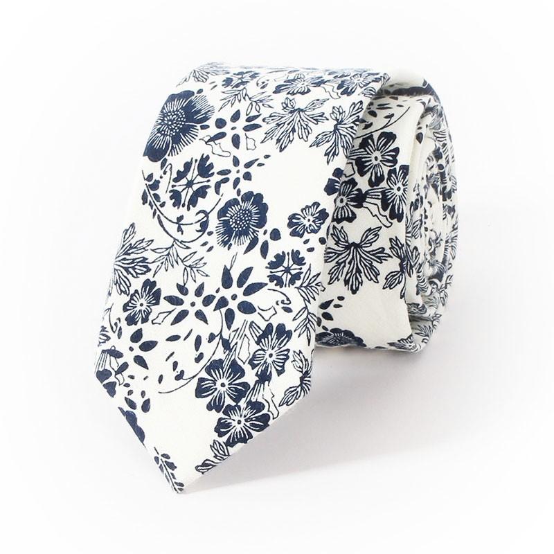 Bleu-Élégant-Vintage-Hommes-Floral-de-Cou-Cravate-Bleu-et-Blanc-coton-Casual-Mode-Cravates-pour