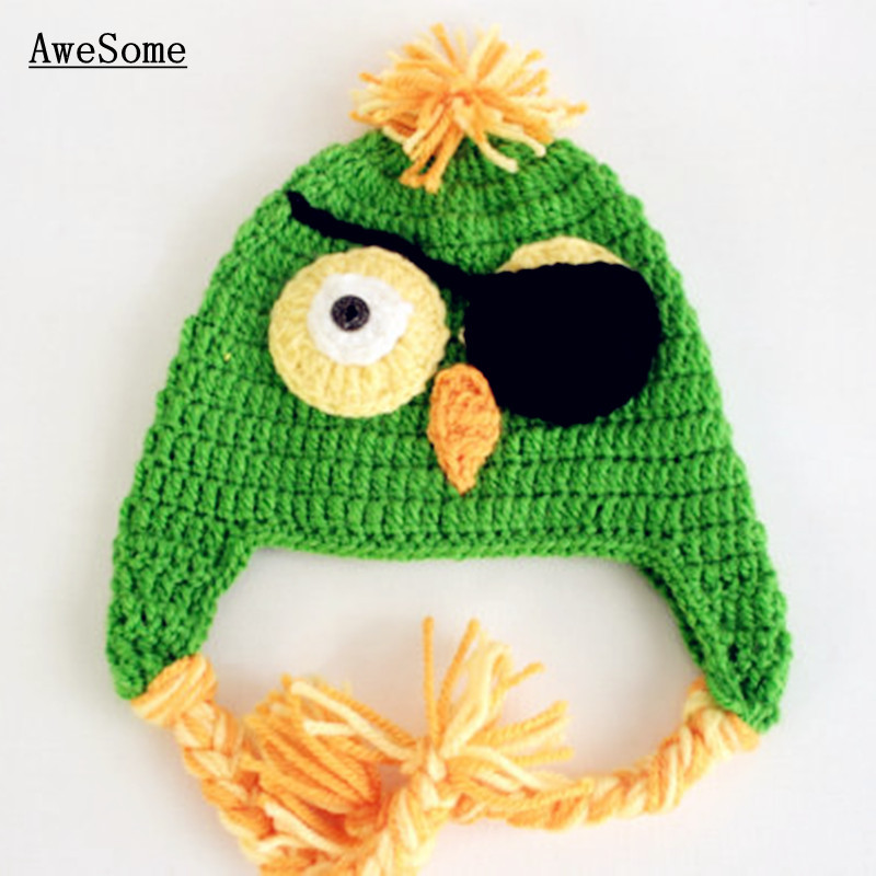 Free Shipping Super Cool Pirate Parrot Hat,Handmade Crochet Baby Girl Boy Green Animal Hat Cap,Infant Toddler Photography Prop(China (Mainland))