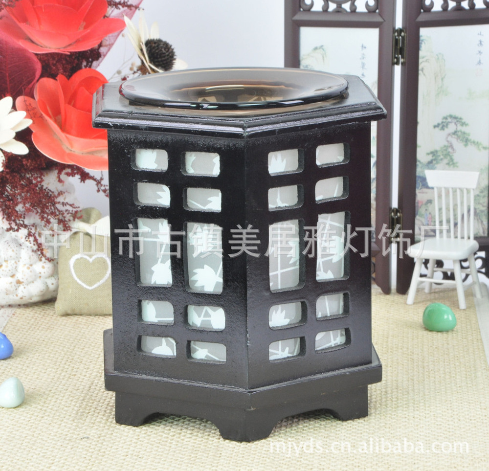 Factory wholesale Classical Wooden aroma lamps oil lamp night light holiday gift ideas M0100(China (Mainland))