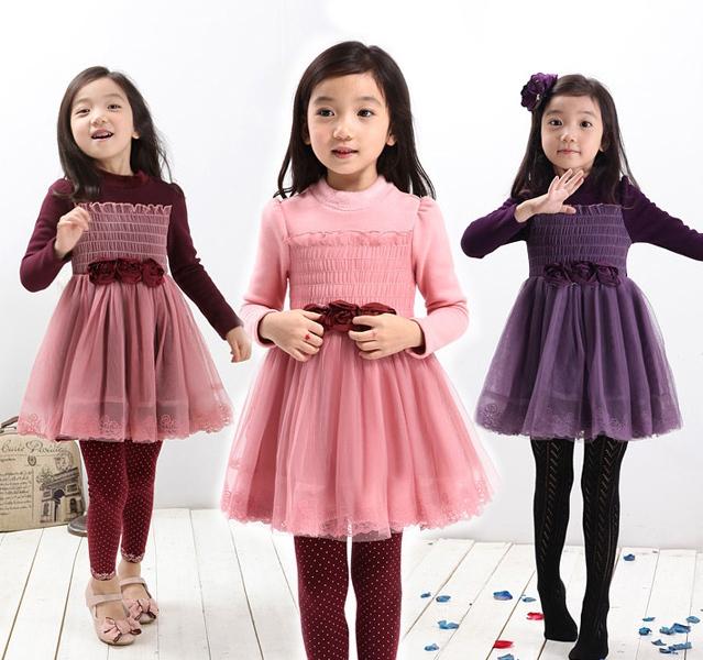 Бесплатная доставка 2014 новая весна и осень девочек свободного покроя хлопковой кружевном платье принцессы платье девушки детей бальные платья