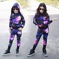 2016 new Spring Autumn children s clothing set boy Purple Print Costume kids sport suits Hip