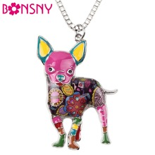 Buy Bonsny Maxi Statement Metal Alloy Chihuahuas Dog Choker Necklace Chain Collar Pendant 2016 Fashion New Enamel Jewelry Women for $4.99 in AliExpress store