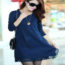 Free shipping! High quality! 5/colors women winter knit lace dress Newest soft and comfortable Casual ladies sweater dress(China (Mainland))