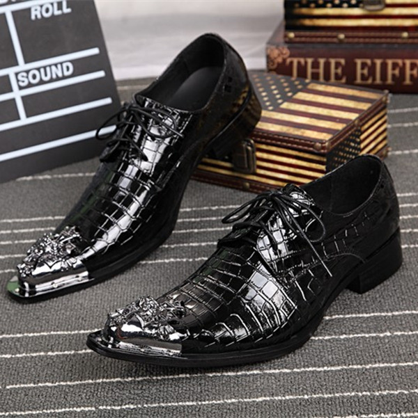 Фотография Alligator Black Leather Low Top Leather Mens Shoes Lace Up Oxfords Gladiator Metallic Toe Sapatoso Mujer Party Mens Shoes