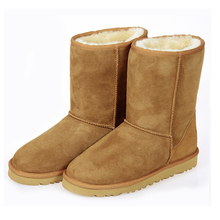 Women Snow Boots 2016 New Arrival Classic Mid-calf Thicken Warm Snow Boots Waterproof Sheepskin Fur Snow Boots Wholesale 35-39(China (Mainland))