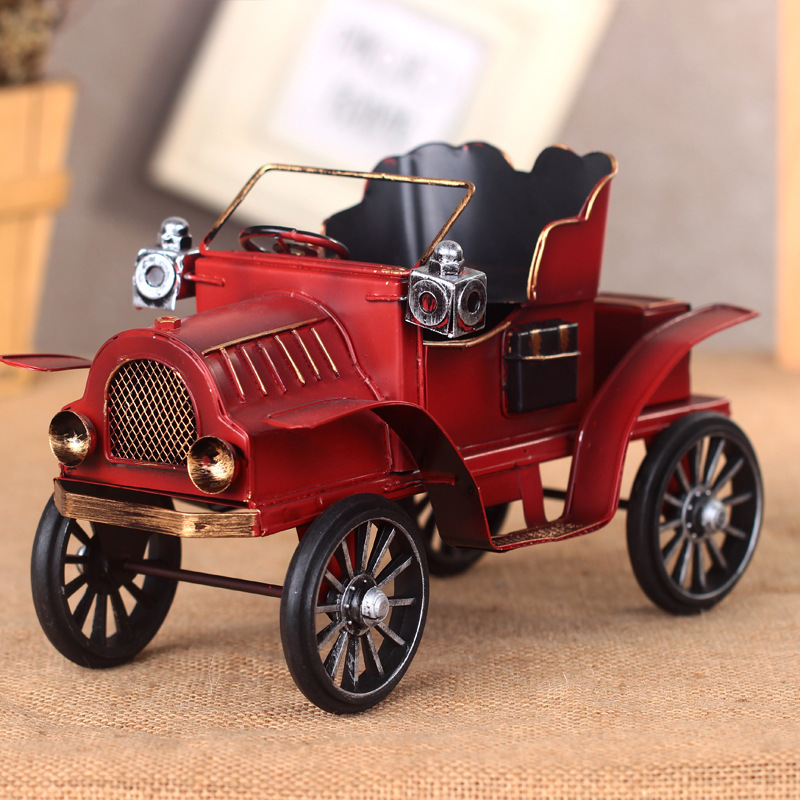 Home decorations colorful vintage car iron model high end