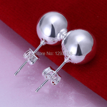 fashion Ball Beads Silver Stud Earrings for woman Silver 925 Stud earrings 10mm pearl Nickle free antiallergic 2014 pendientes(China (Mainland))