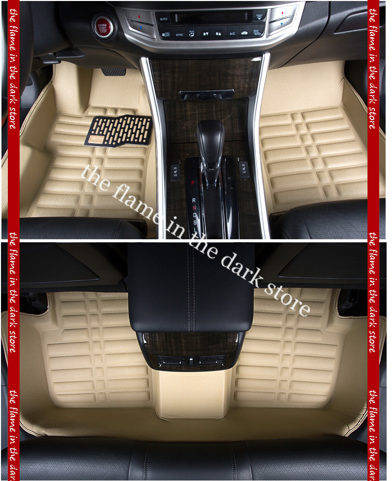 free shipping waterproof  fiber leather car floor mat for honda accord 2013-2015  black/brown/gray/beige <br><br>Aliexpress