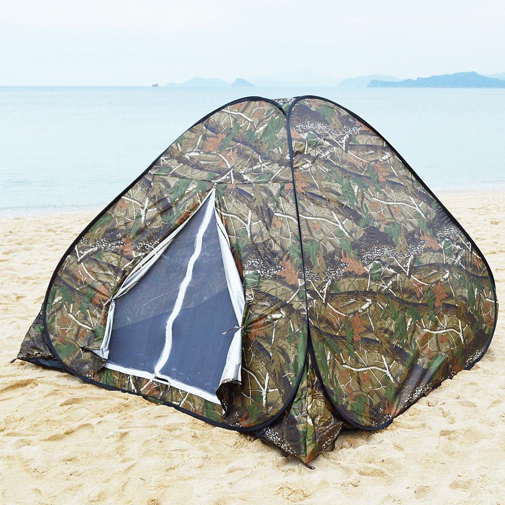 Portable Camouflage Camo Camping Tent Family Setup Pop Up Hiking Instant Tent 3-4 Person Fiberglass Four Season Folding Tent(China (Mainland))