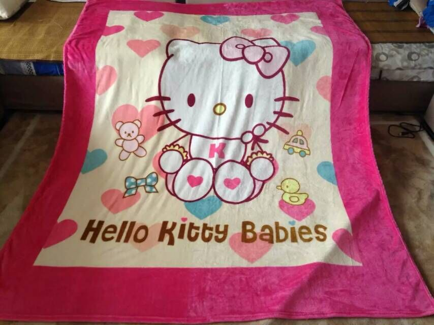 Pink girls winter hello kitty 150*200cm Baby Blanket cartoon coral fleece flannel fabric super soft air-condition blankets,sheet(China (Mainland))