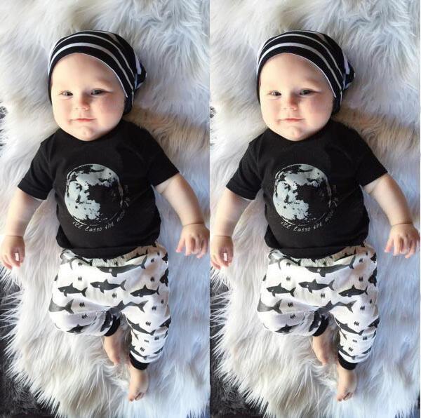 2016 summer new fashion baby clothing set S newborn baby boy clothes toddler short-sleeved printed T-shirt + pants suits(China (Mainland))