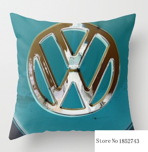 Two sides printing Turquoise Beauty VW Bus pillow Cases for 12 ''14''16''18'' 20'' 24''inch free shipping(China (Mainland))