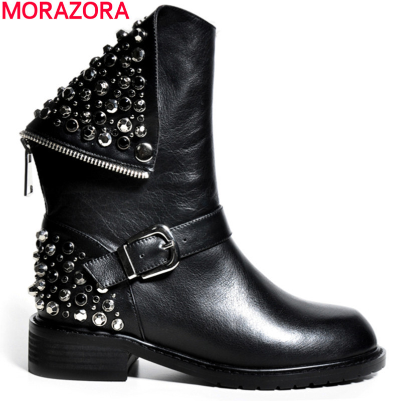 HIgh quality sexy unique women ankle boots zip buckle genuine leather boots low heels spring autumn motorcycle boots<br>