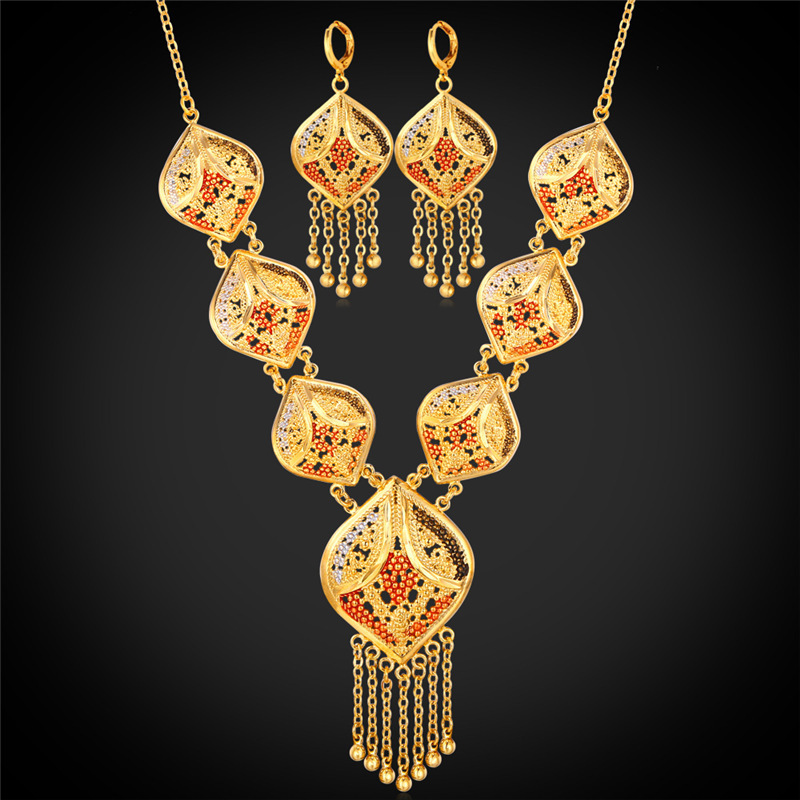 18K Gold Plated Indian Jewelry Set Women Tassel Necklace & Drop Earrings Vintage Party Earing And Necklace Jewellery Sets NE895(China (Mainland))