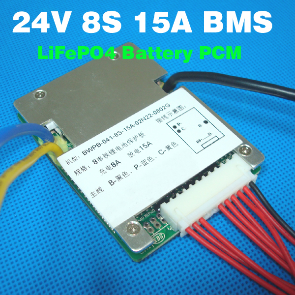 Free Shipping 8S 24V 15A Lifepo4 BMS 25.6V Lifepo4 Battery BMS PCM Used for 8S 3.2v cell 24V battery protection circuit(China (Mainland))