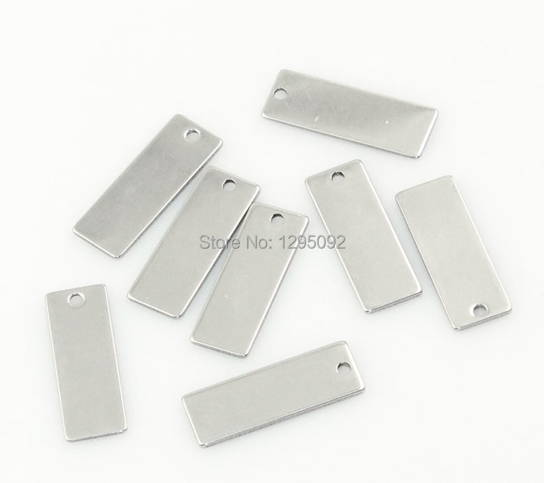 30Pcs Free shipping Hot New DIY Silver Tone Stainless Steel Rectangle Blank Stamping Tags Charm Pendants Component 25x9mm(China (Mainland))