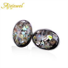 Ajojewel 2016 New Arrival Top Quality Big Oval Stone Shell Silver Stud Earrings For Women(China (Mainland))