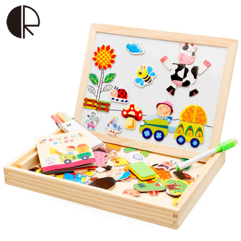 3+ age Wooden Magnetic Puzzle Kids Toys Happy Farm Double Drawing Learning Educational Toys Painting Board For Children Gift(China (Mainland))