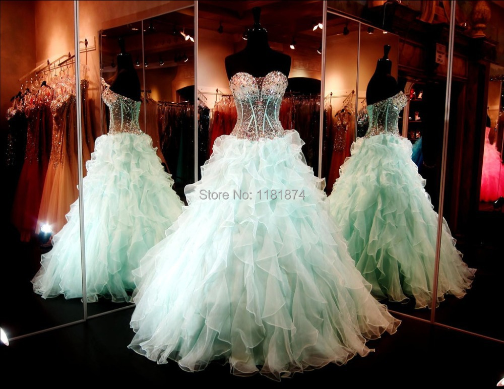 Sheer Crystals Beaded Bodice 2015 Mint Ball Gowns Vestidos de quinceanera dresses Organza Ruffles Cheap Quinceanera JA425 - Love_dresses store