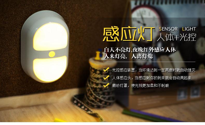 Freeship 2015 New Cretive Design Wall Lamp Mini LED Human Sensor Night Lights Human Body Auto Motion Light Sensor Induction Lamp(China (Mainland))