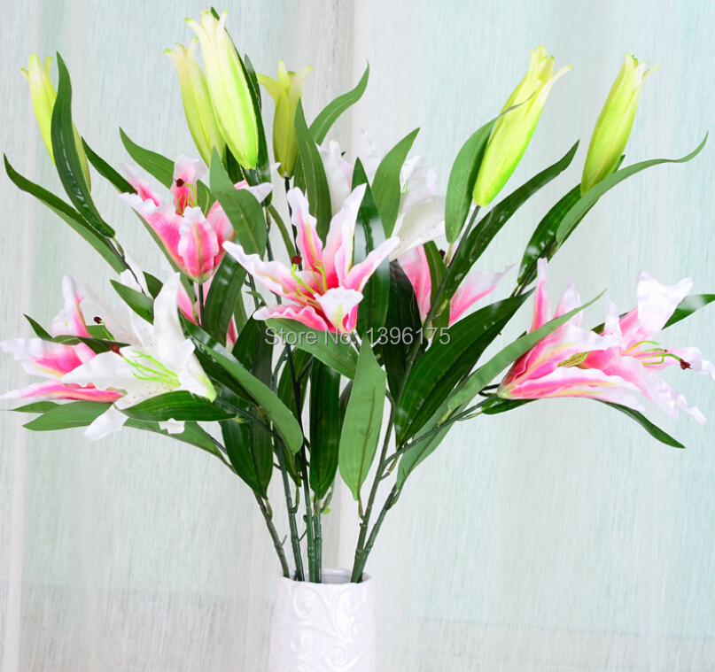 silk white pink lily flowers real touch wedding decoration artificial flowers silk flower home decoration free shipping(China (Mainland))