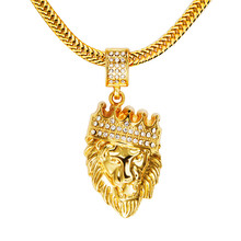 Mens Hip Hop Jewelry Iced Out 18K Gold Plated Fashion Bling Bling Lion Head Pendant Men Necklace Gold Filled For Gift/Present(China (Mainland))