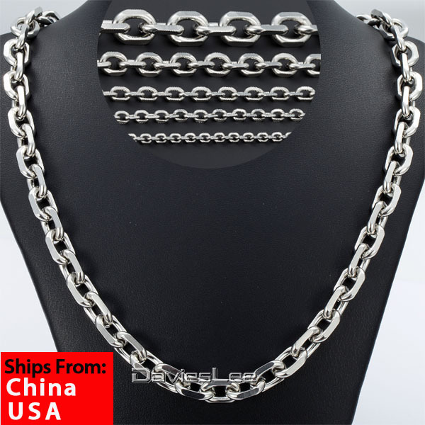 Ship From USA 2.5/3/4/6/10mm 18-36inch Stainless Steel Chain Silver Tone Mens Boys Rolo Chain Necklace Fashion Jewelry DLKNM78(China (Mainland))