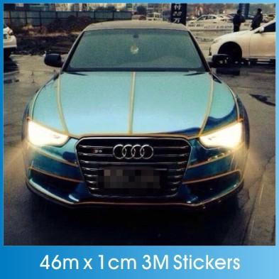 46M*1CM Super reflective strip car be light garland luminous stickers body decoration full reflectors Car styling wholesale(China (Mainland))