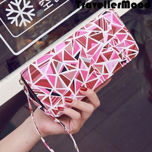 Women bag PU leather geometric printing money clip day clutch bag student long purse mobile bag high quality TravellerMood(China (Mainland))
