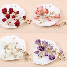 Free Shipping Gold Leafs Bridal Hairpins Red/Purple/White/Pink Silk Flowers Wedding Hair Accessories 31617
