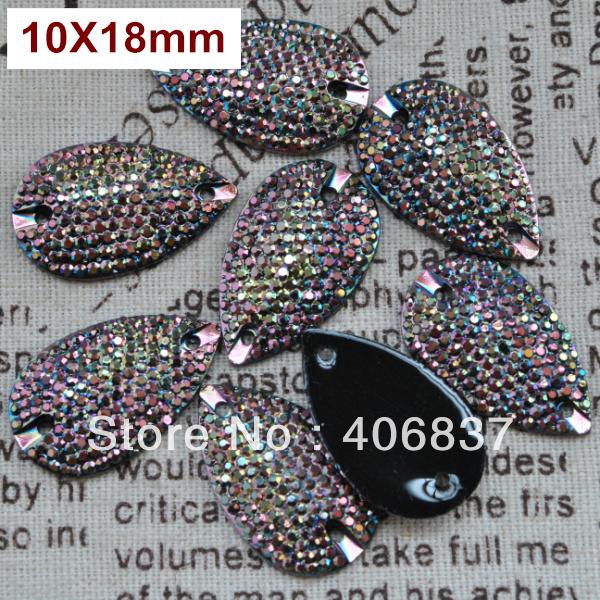 Free Shipping, 100pcs/Lot, 10*18mm All-star Metallic Brown sew on resin stones flat back sew on teardrop beads(China (Mainland))
