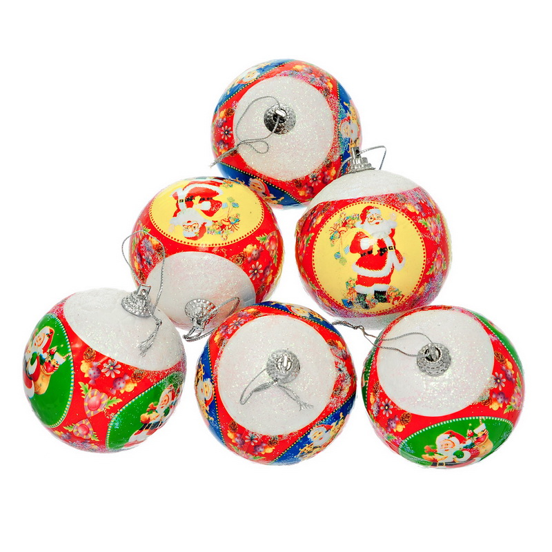 1Packet (6PCs) Mixed Christmas Tree Balls Styrofoam Santa Claus Father X-mas Supplies Decorations Ornaments For Home 7.8x6.7cm(China (Mainland))
