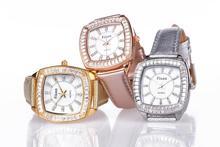 Fixon diseñador moda Rhinestone relojes mujeres se visten de cuero a estrenar de lujo caja cuadrada 3 colores Relogio Feminino Christmans regalo