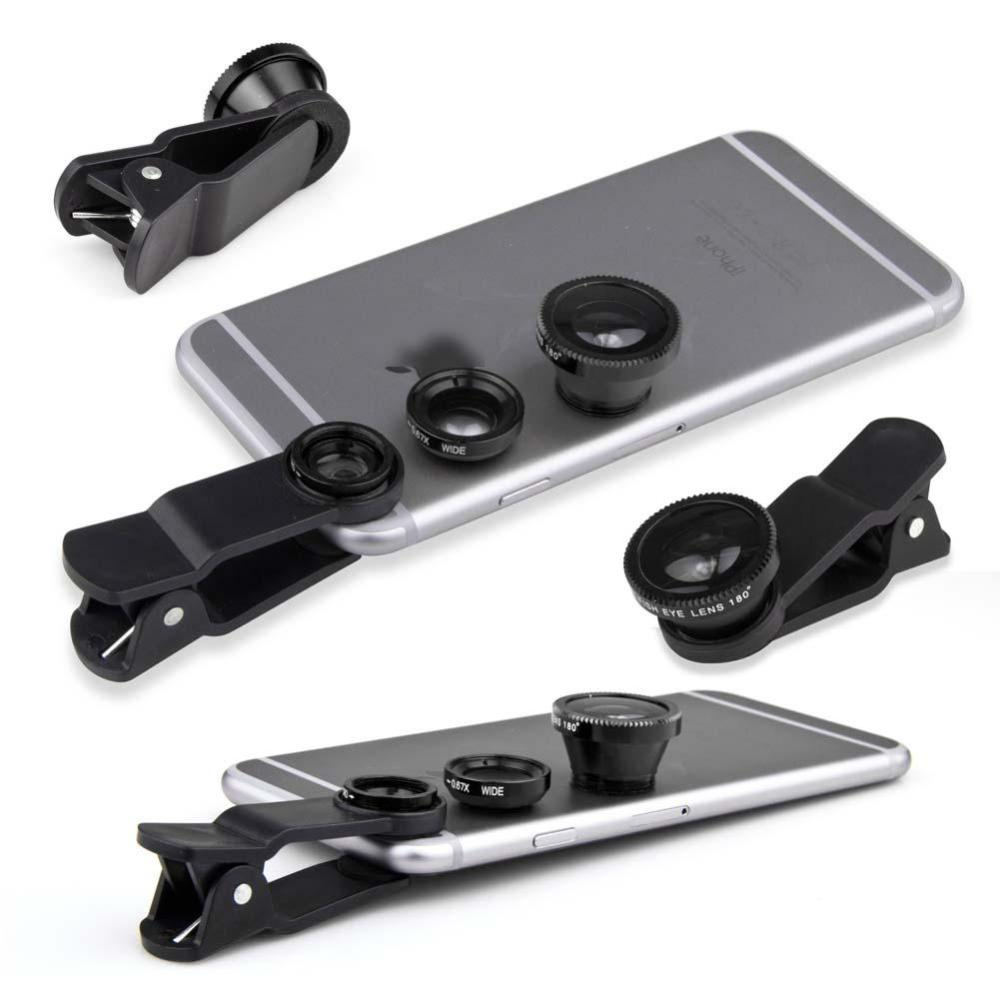 3 in 1 Fish Eye Lens Wide Angle Micro Lens BLACK Camera kit for Iphone 6/5s Samsung