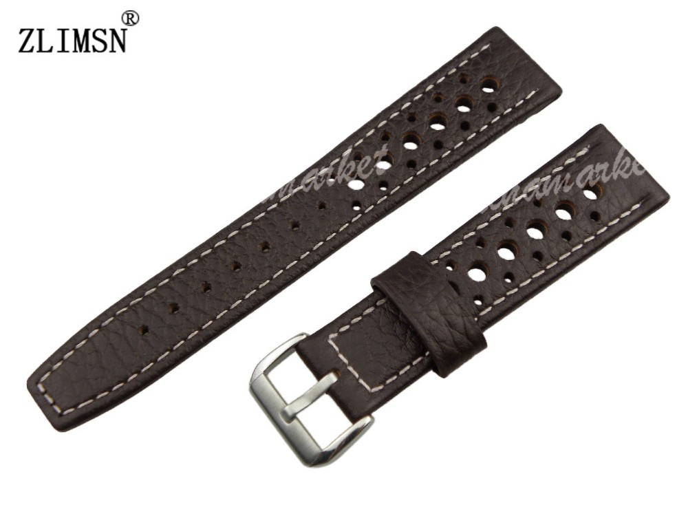 100%Genuine Leather Brown 20mm MEN New white line holes Watch band Strap belt Strap Band Leather Watchband Watchbands Men Women(China (Mainland))