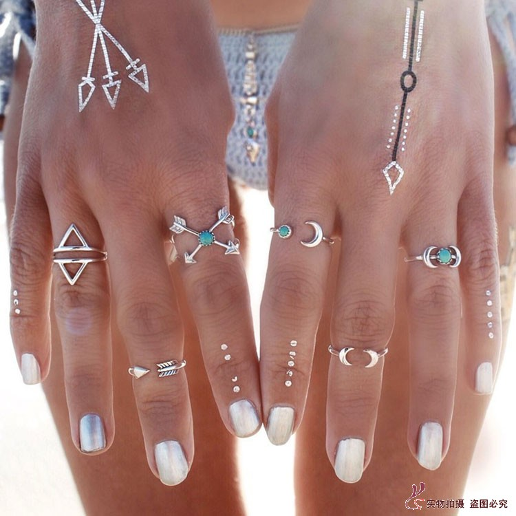 6 Pcs/set New Fashion Bohemian Silver Finger Ring Design 6 Types Natural Turquoise Moon Shape Nail Rings for Women jewelry(China (Mainland))