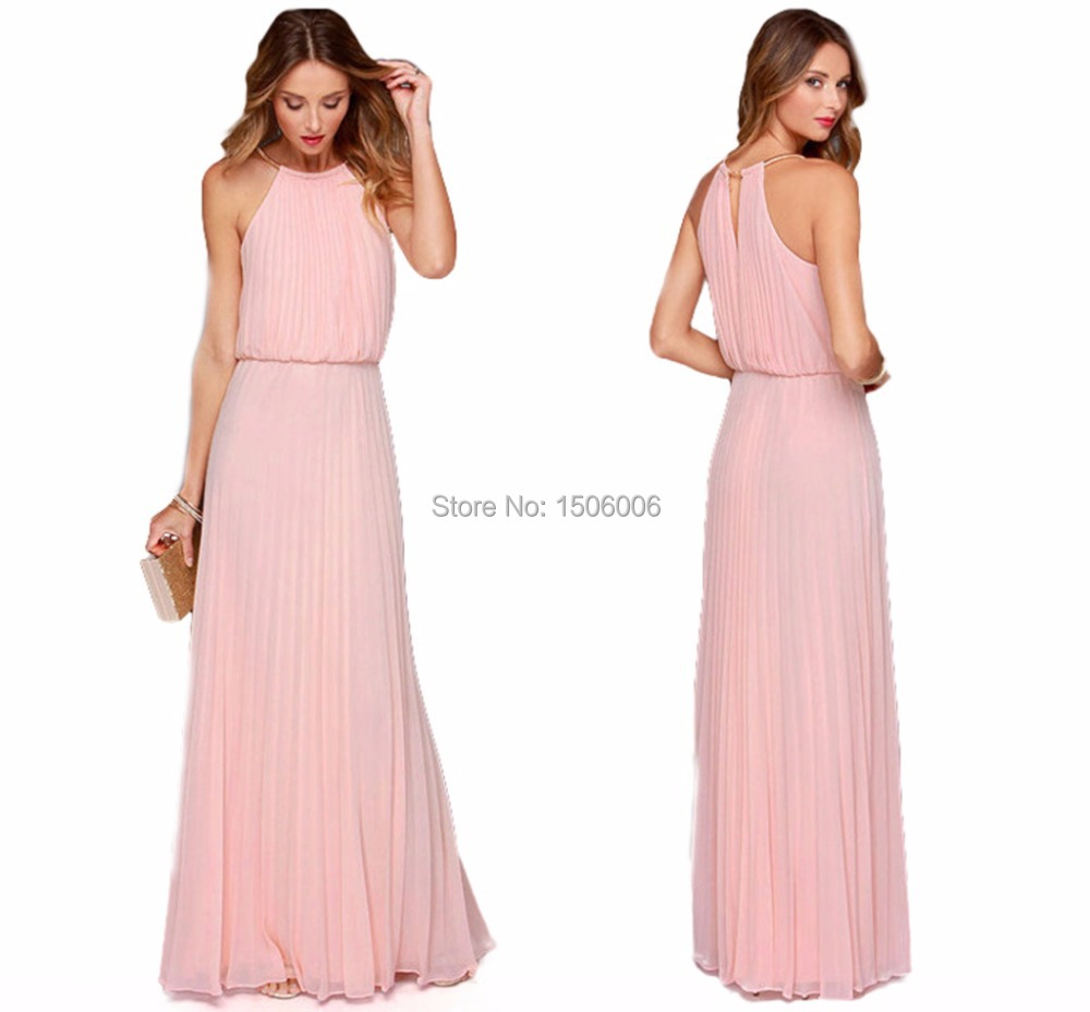 Pink chiffon sleeveless bridesmaid dresses 2015 new for Dresses for wedding bridesmaid