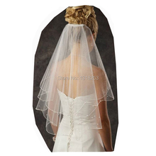 Buy Bridal Wedding Veil Ribbon Edge Ivory White 2T Long Velo Novia Bridal Bridesmaid Veils Comb fashion simple cheap accessories for $5.23 in AliExpress store