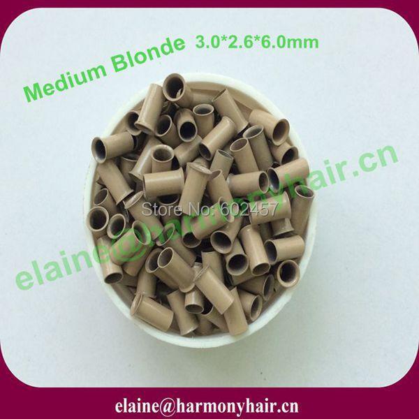 (1 bottle/lot,1000pcs/bottle) 3.0*2.6*6.0mm Medium Blonde Copper Easylocks Micro Tubes for Hair Extensions Copper Micro Rings<br><br>Aliexpress