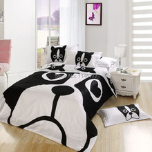Ywxuege Black&White Bedsheet 4PCS 100%Cotton Dog Pattern Bedding Set Queen Size Quilt/Duvet Cover Bedcover Sets Fast Shipping(China (Mainland))