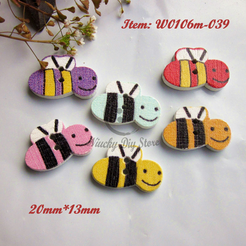 Animal wood buttons 144pcs colorful little bees wood buttons animal cartoon button for decoration butterfly scrapbook buttons(China (Mainland))