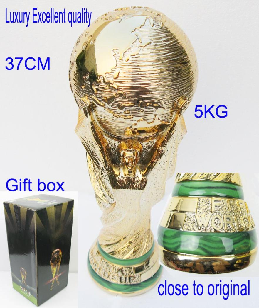 world cup trophy replica souvenir Top luxury excellent quality Model 1:1 Full Size football world trophy cup 5KG height:37CM(China (Mainland))